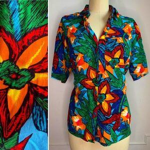 Vintage Multicolor Floral Button Down